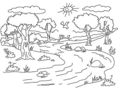 Gambar Mewarnai Sungai Gambar Mewarnai Lucu