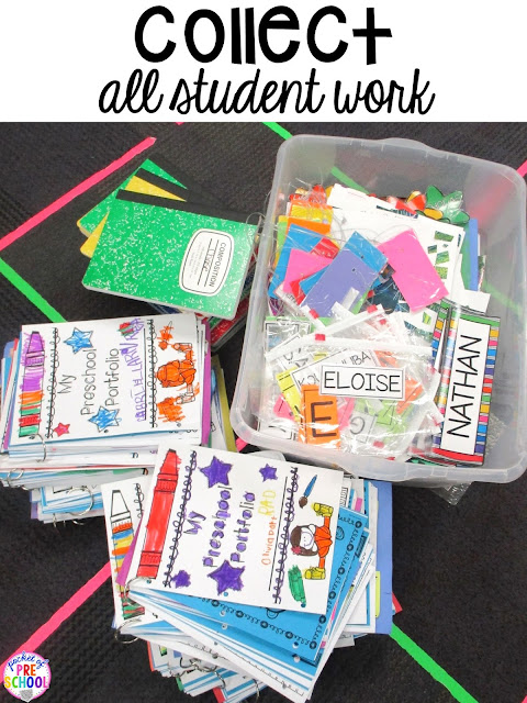 The trick to send home student work plus more End of the year teacher and students HACKS to make the end of the year and back to school less easy! Plus FREE end of the year lists. Perfect for preschool, pre-k, and kindergarten.