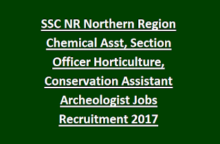 SSC NR Northern Region Chemical Assistant, Section Officer Horticulture, Conservation Assistant, Asst Archaeologist Jobs Recruitment Notification 2017