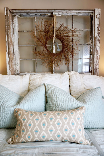 Bed Spread with Antique Window for Headboard