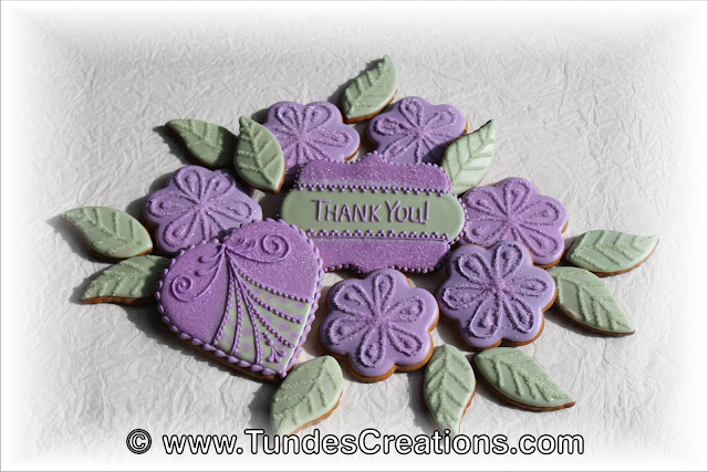 "Purple flower ""thank you"" cookie set by Tunde Dugantsi"