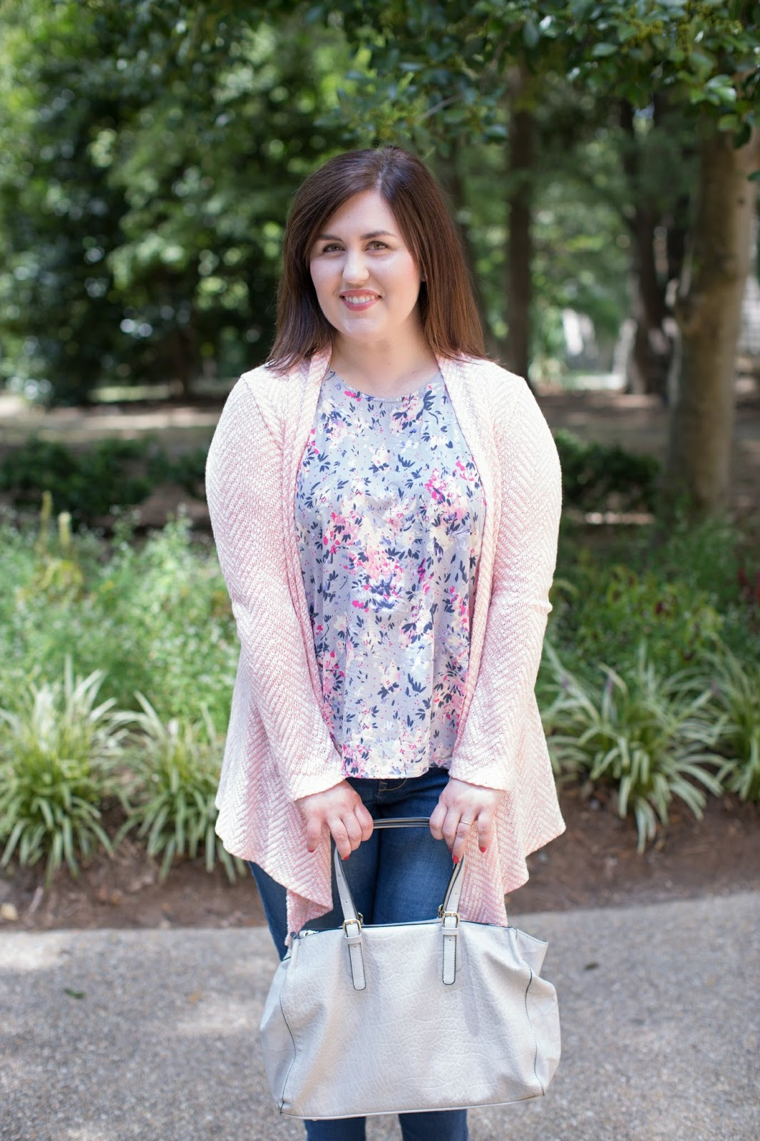 Rebecca Lately Floral Top Pink Chevron Cardigan Old Navy Rockstar Jeans Navy Wedges