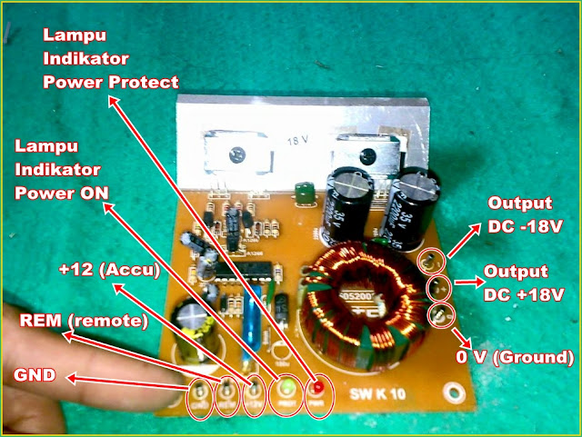 Petunjuk Mudah Pemasangan Titik Pin Tegangan INVERTER KIT DC to DC (12V to 18V CT)