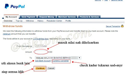 withdraw funds paypal