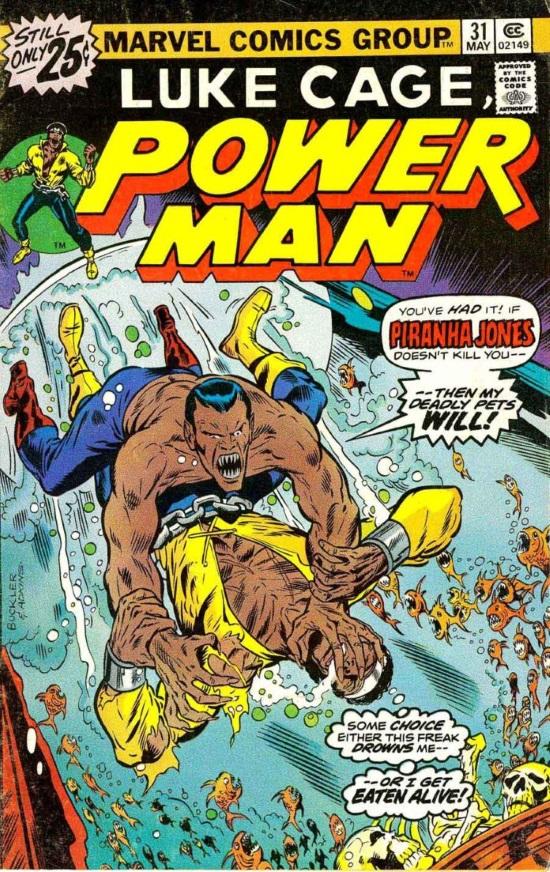 Portada de Power Man #31, obra de Rich Buckler y Dan Adkins