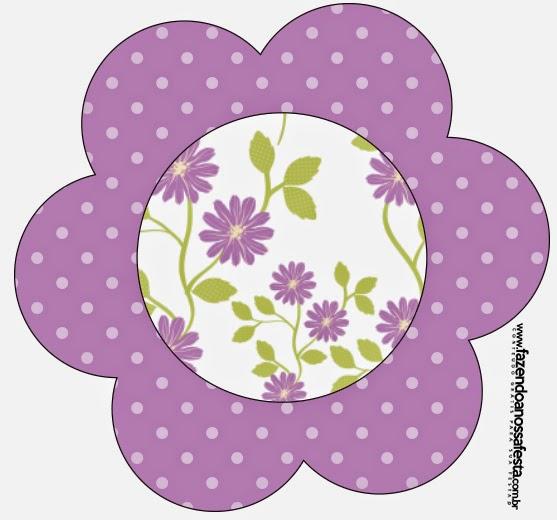 Tarjeta con forma de Flor de Flores Moradas.