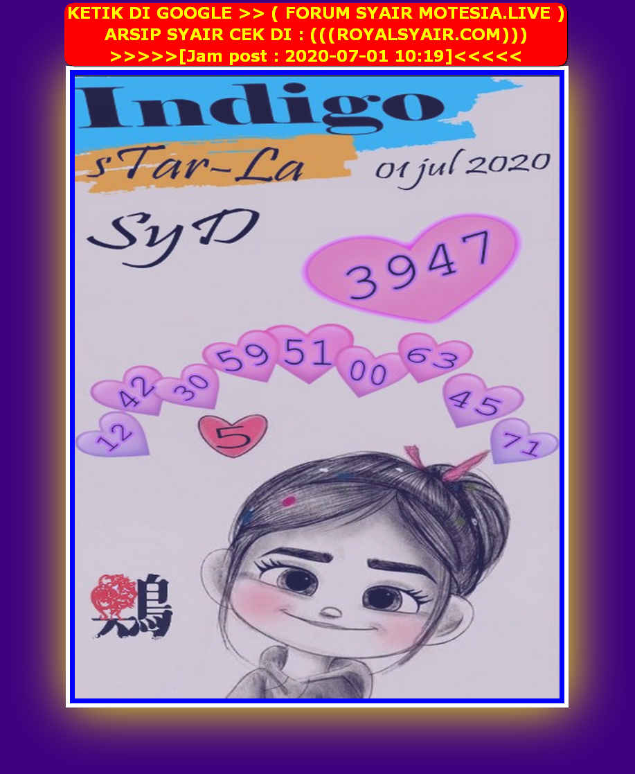 Kode syair Sydney Rabu 1 Juli 2020 173