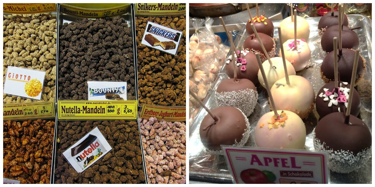 flavoured nuts and chocolate covered apples