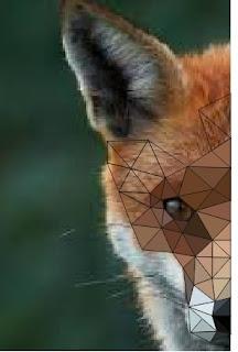 terus membuat kombinasi segitiga menggunakan pen tool untuk membuat logo low poly