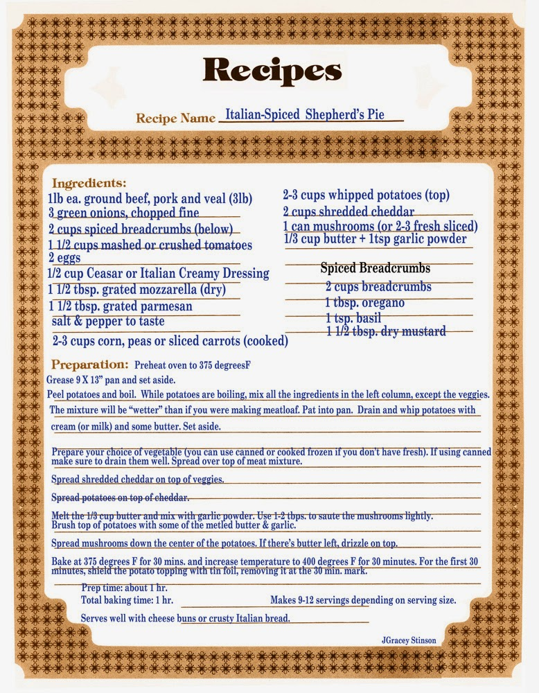 A printable recipe page for Italian Spiced Shepherd's Pie.