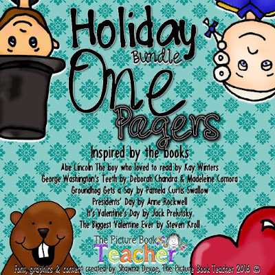 A Holiday Bundle of One Pager activities for a number of holdiay books.