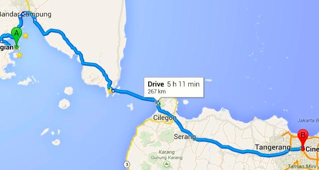 Peta Rute Travel Jakarta - Bandar Lampung