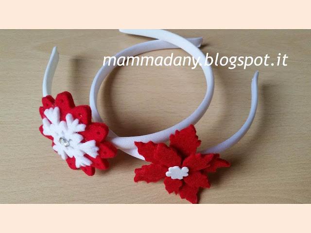Vendita Cerchietto di natale bianco con fiore rosso con brillantino