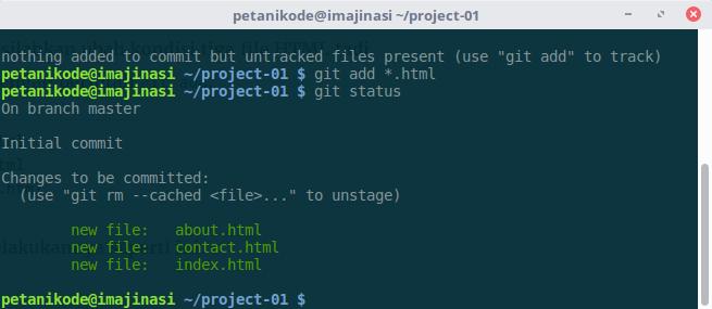 Kondisi file staged di Git