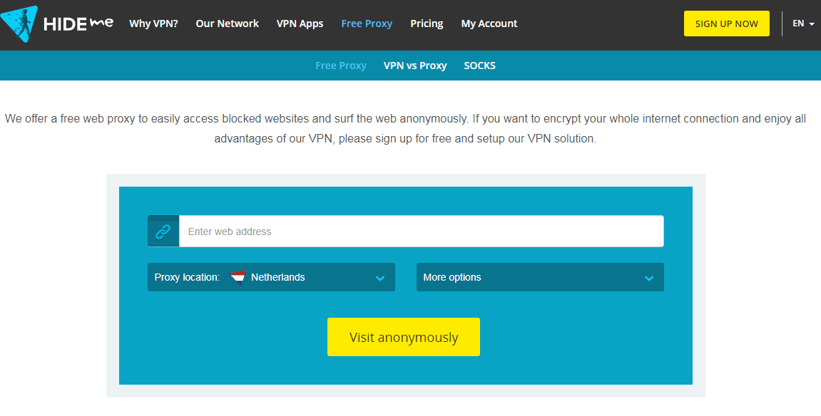 situs web proxy gratis terbaik Hideme