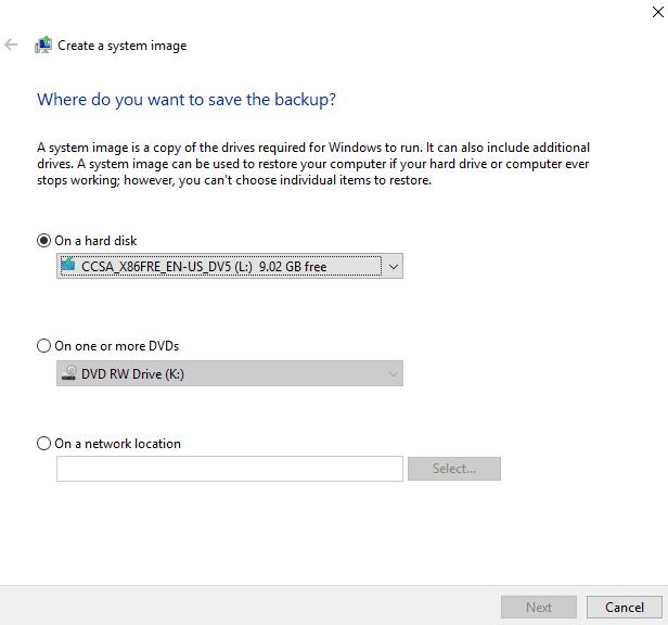 Create Full System Backup