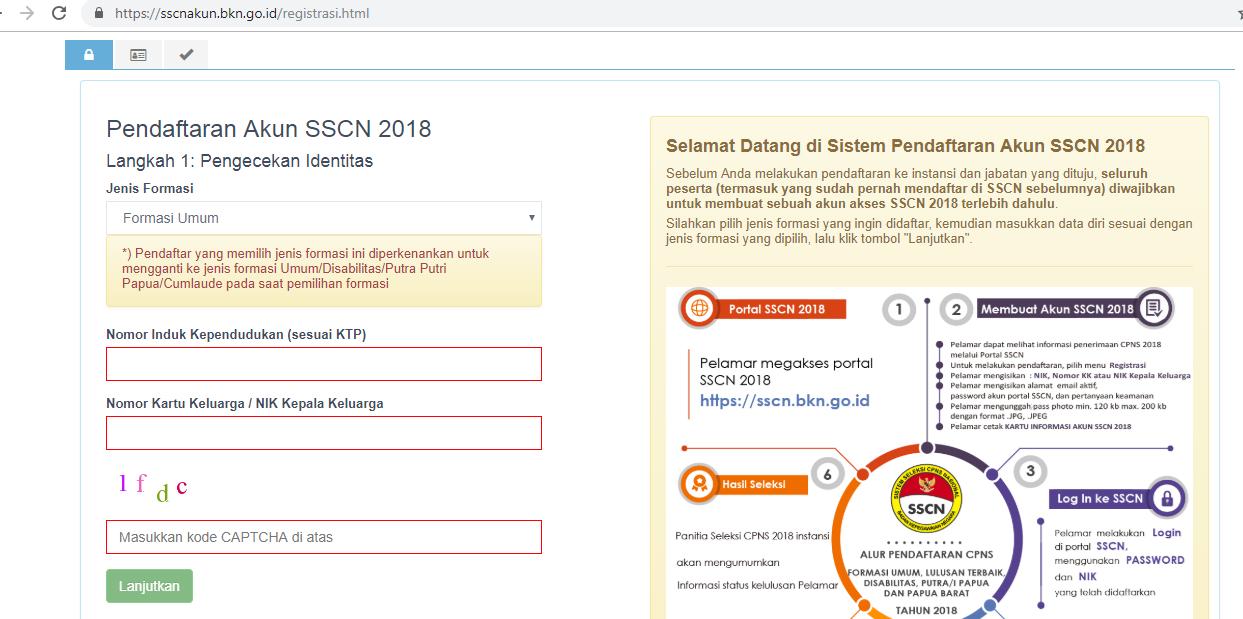 Tata Cara Pendaftaran Cpns Di Akun Sscn 2018 Website Nasty