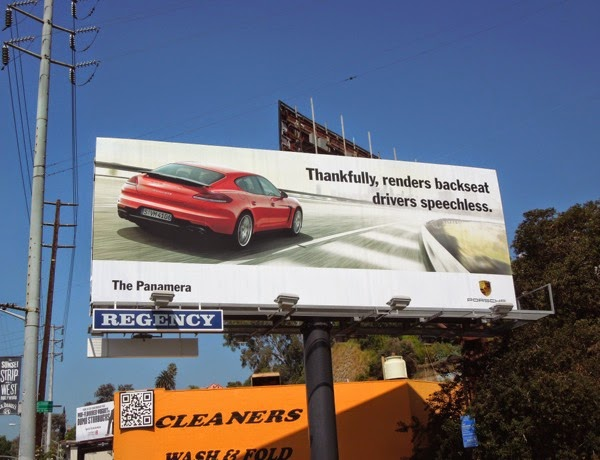 Porsche Panamera backseat drivers speechless billboard