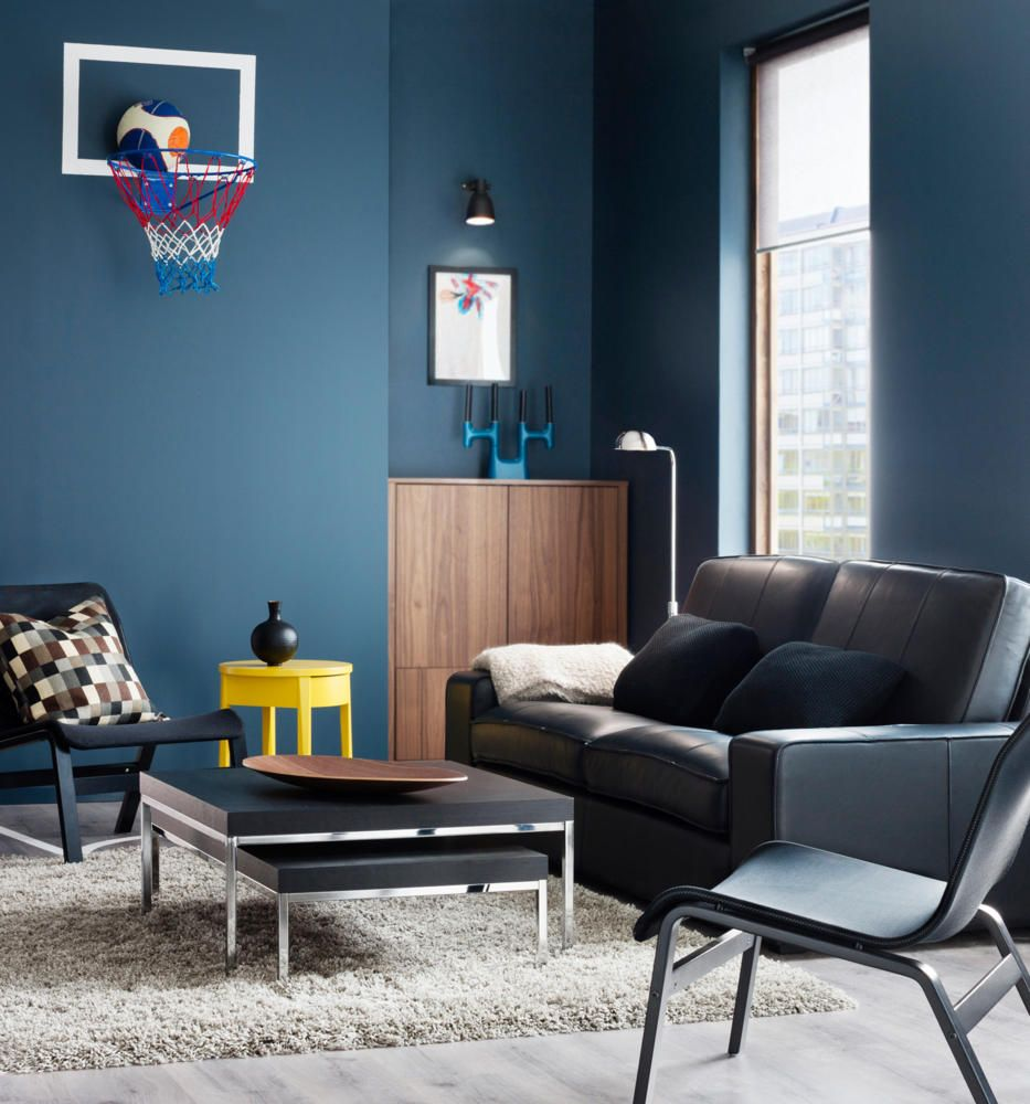 salas en gris y azul salas con estilo. Black Bedroom Furniture Sets. Home Design Ideas