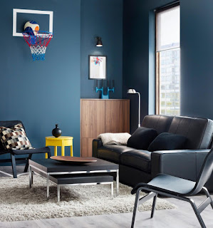sala decorada gris y azul