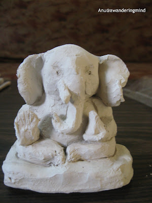 Lord Ganesha Clay idol, an Eco friendly Ganpati in A Mumbai household during the Ganesh Chaturthi Celebrations