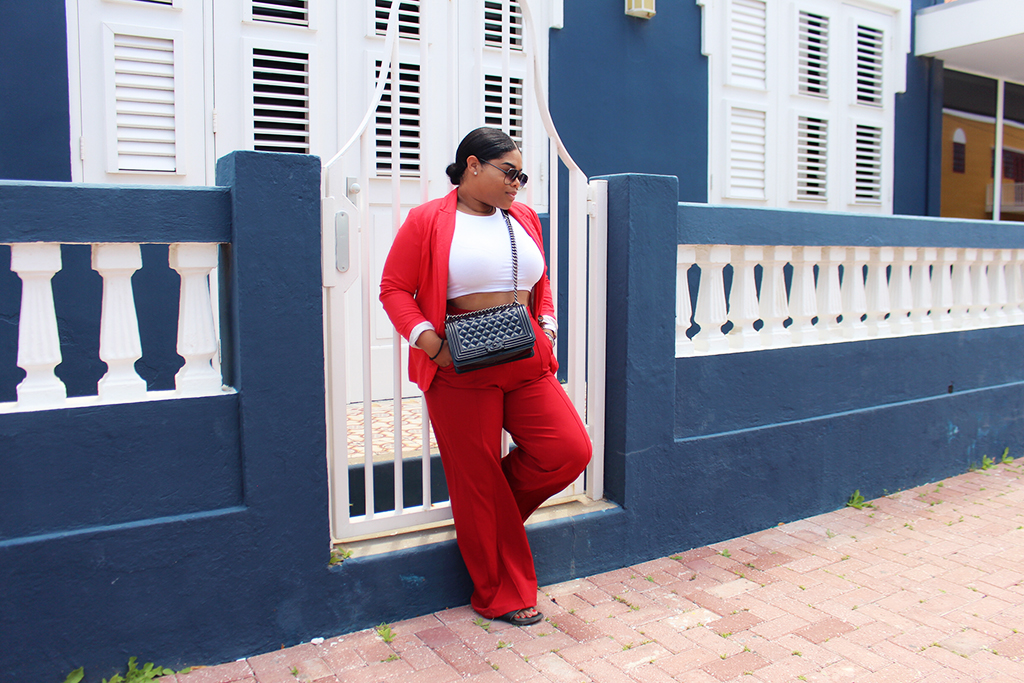 quay, highkey, desi perkins, quay australia, h&m, divided, bershka, ebay, chanel bag, boy bag, adidas, slides, blogger, ootd, outfit, red, classics, monochrome, matching, pantsuit, black