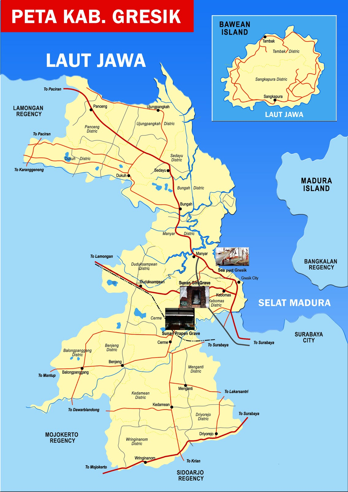 Peta Kabupaten Gresik, Jawa Timur | Sejarah Indonesia ...