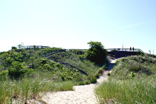 Dune walk at New Buffalo Beach in Michigan