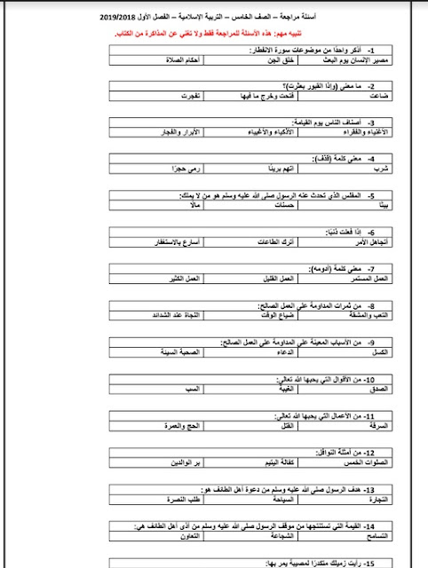 اسئلة مراجعة في التربية الاسلامية للصف الخامس