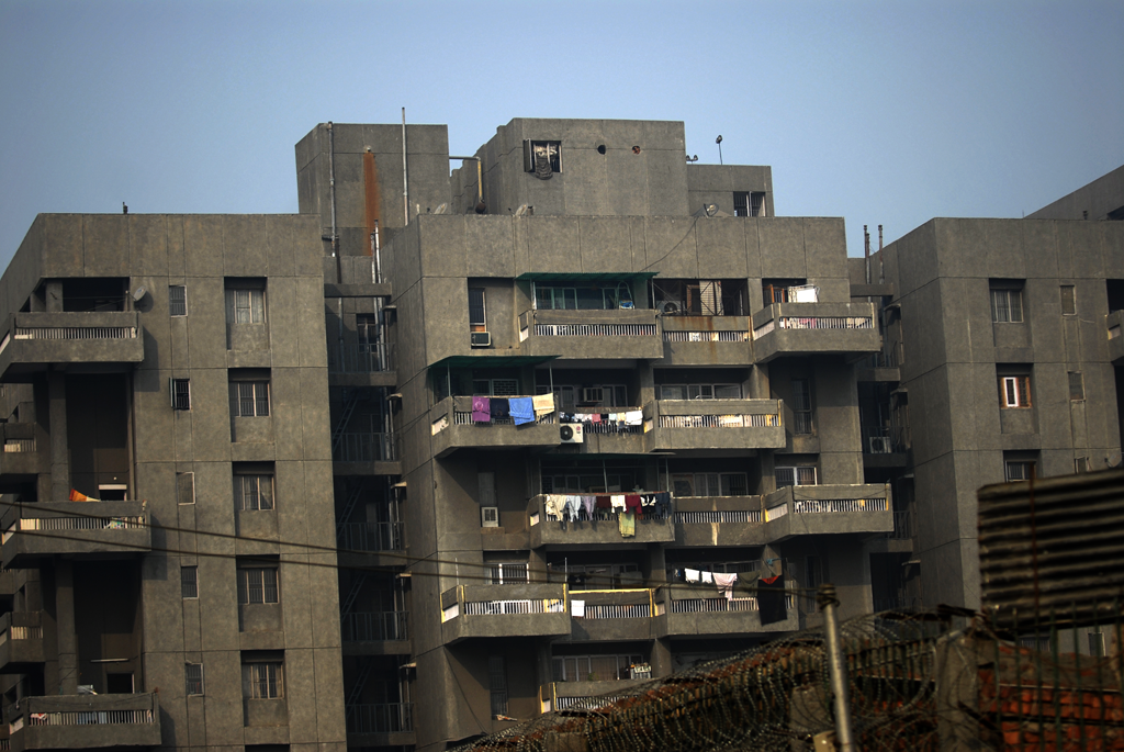 Photo of an apartment building in Delhi, India.