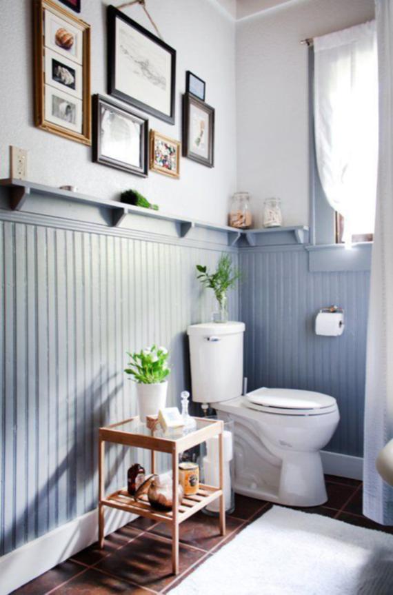 country style bathroom, decorated with framed prints