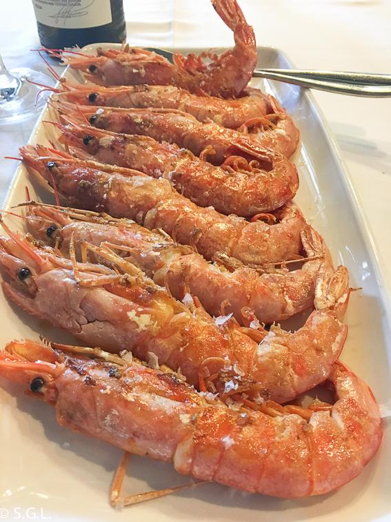 Langostinos a la plancha restaurante La Solana en Ribadeo