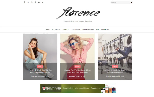 Florence Responsive Magazine Personal Blog Beauty Fashions Girly Update Blogger Template Theme
