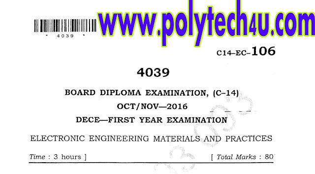 ELECTRICAL ENGINEERING MATERIALS AND PRACTICES C-14 ECE OCT-NOV-2016