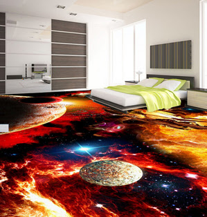 3d universe liquid tile floor non slippery surface having galaxy themed design for bedroom interior