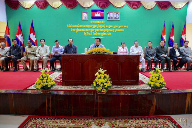 Prime Minister Hun Sen meets with local officials in Preah Vihear province yesterday. Facebook