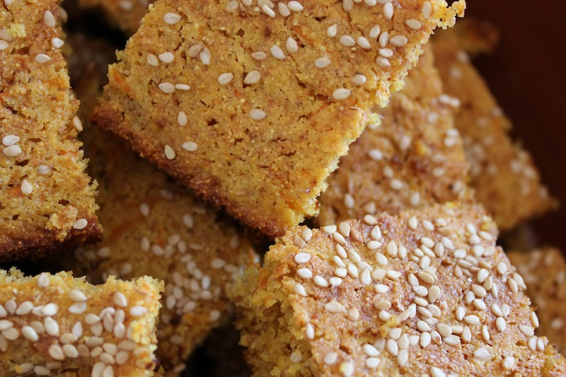 Corn Bread with Carrot and Sesame Seeds