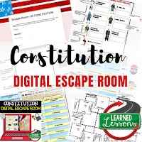 Constitution Digital Escape Room, Constitution Breakout Room, Digital Escape Room for Middle School, Digital Escape Room for High School, Digital Activities for Middle School, Digital Activities for High School, Google Classroom