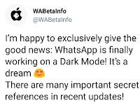 Whatsapp Dark mode dan fitur geser untuk membalas akan hadir di Android