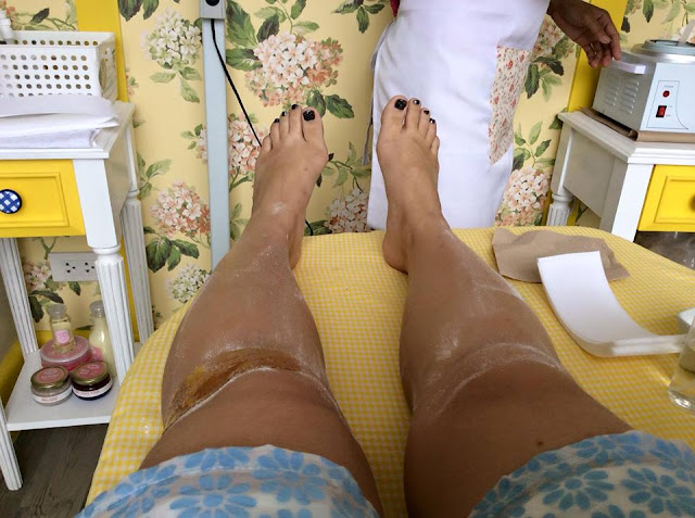 Half leg waxing- from the mid kneecaps to feet. The process requires powdering the area with cornstarch, waxing proper, threading the stubborn short hair, then lie on your tummy coz the back will be waxed, and then same steps. A soothing massage with VCO finally to calm your senses.