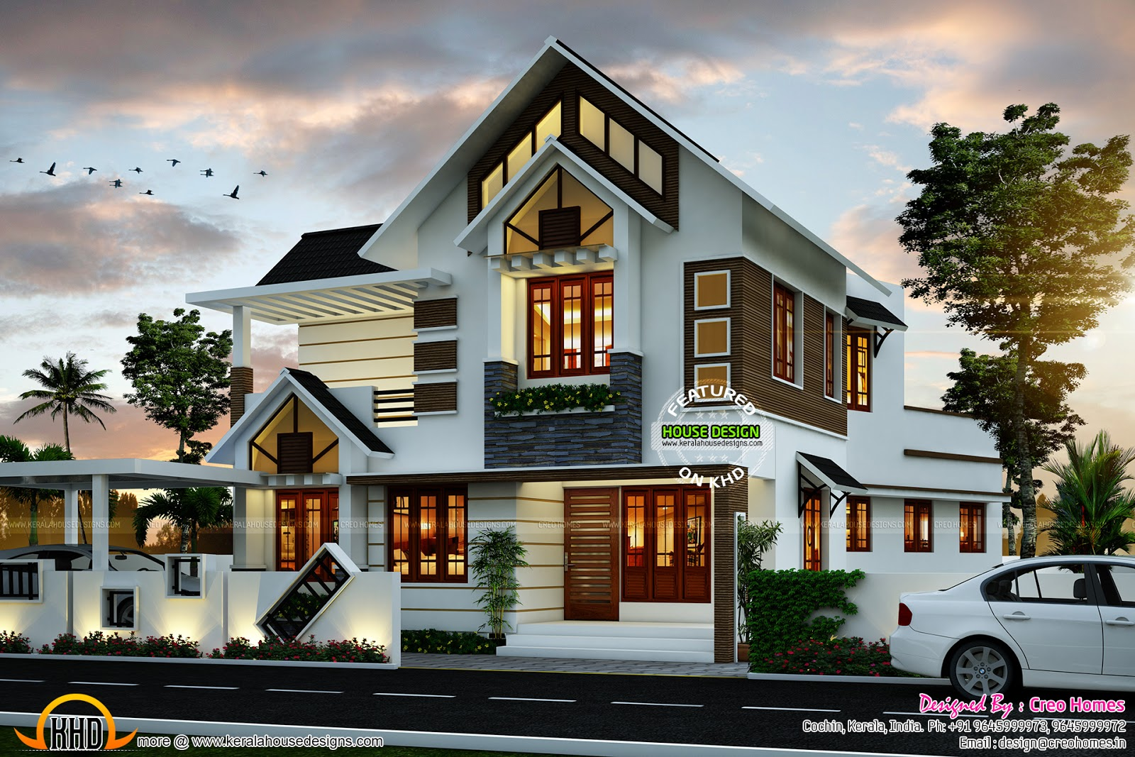 Super cute modern house plan kerala home design and for Designer house plans
