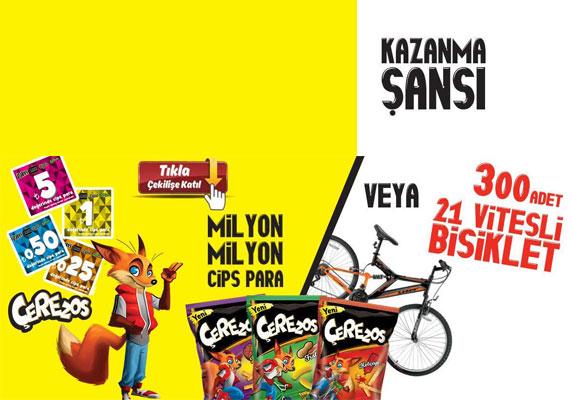 Cips Para,bisiklet çekilişi, Çerezos, Çerezos kampanya, sanslipaket.com,