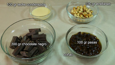 Turrón de chocolate avellanas y pasas. Ingredientes