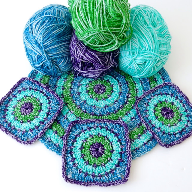 free crochet pattern: granny square and circle