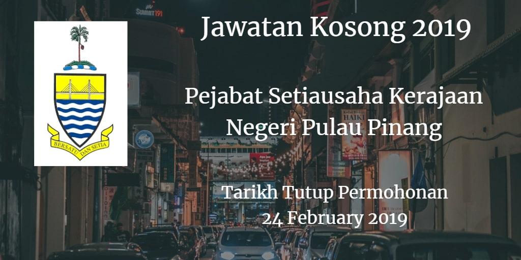 Jawatan Kosong Pejabat Setiausaha Kerajaan Negeri Pulau Pinang 24 February 2019
