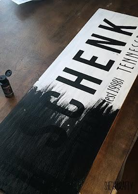 letters, wood sign, black vinyl, white and black sign