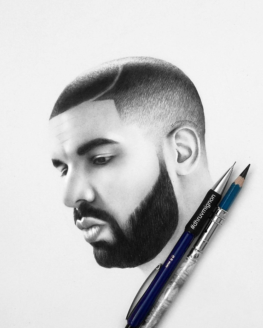 06-Drake-Champagne-Papi-dhruvmignon-Celebrity-Miniature-Black-and-White-Pencil-Portraits-www-designstack-co