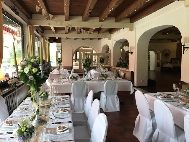Table decor with Hessians, wood, grey, brown, green, lilac, Wedding abroad, Mountain wedding lake-side at the Riessersee Hotel Resort Bavaria, Germany, Garmisch-Partenkirchen