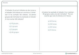 Fichas de ejercicios de razonamiento matemático para sexto primaria