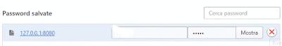 Cancella password sito su opera